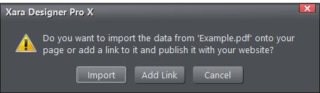 Xara Designer Pro Dialog Box PDF import